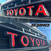 Red 2012-2015 Tacoma Trd Pro Grill Raised Letters Inserts Decals Domed Gel