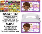 12 Doc Mcstuffins Birthday Party Treat Box Stickers Movie Theater Candy Dottie