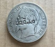 Muscat And Oman 1870 France 5 Francs Countermark Muscat Silver Coin Km 782.1