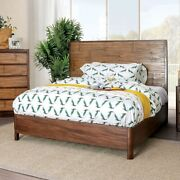 Transitional Bedroom 1pc California King Size Bed Antique Brown Panel Headboard