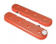 Holley 241-133 Chevy Orange Vintage Finned Ls Engine Swap Valve Covers