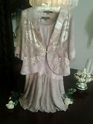 New Spencer Alexis 3pc Lilac Jacket Skirt Shell Silvery Lapel Lilac Lace Sm P