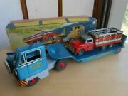 Bandai 1950and039s Novelty Super Large Tin Toy B 328 Flatbed Truck With Box Japan