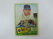 1965 Topps 364 Galen Cisco Autograph / Signed Card Mb New York Mets