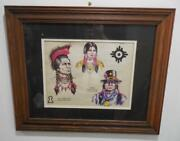 Indian Chief Tosh-a-wah Comanche Dr. Whirlwind Med Man Print Framed