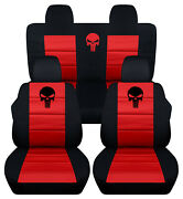 Front+back Car Seat Covers Black-red Punisher Fits Jeep Compass/patriot 07-17