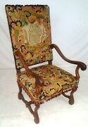 Antique 1880s French Needlepoint Armchair Os Du Mouton Throne Chair Fauteil