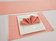 Red And White Checked Gingham Placemat Table Runner Cloth Napkins Set