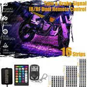 Motorcycle H.d Led Neon Under Glow Light Kit With Brake Mode + Music Active