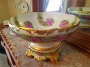 Large Limoges Hand Painted Punch Bowl Stand Set