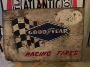 Rare 1950andrsquos -60andrsquos Good Year Racing Tires Adverting Sign Measures 24 X 34 Inches