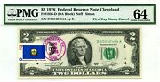 2 Dollars 1976 First Day Stamp Cancel State Flag From Vermont Value 1976