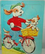 Vtg Saalfield Artcraft 7020 Dog And Puppy Riding A Bicycle Cardboard Tray Puzzle