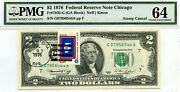 2 Dollars 1976 Stamp Cancel State Flag From Wyoming Lucky Money Value 3000