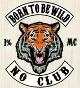 Born To Be Wild Tiger Patches Embroidered Jacket Back Motorcycle Rider Mc Bikers
