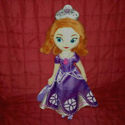 Disney Store Princess Sofia The First 13in Plush Doll Purple Gown Shoes Crown