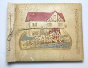 Vintage Photo Album Scrapbook Empty 40 Black Pages Embossed Horse Drawn Carriage
