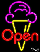 Open Ice Cream Cone Handcrafted Real Glasstube Neon Sign