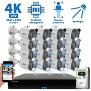 16 Channel 4k Nvr 16 X 8mp Poe Ip H.265+ Ai Starlight Security Camera System