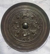 Rare Outstanding Sui-tang Chinese Silvered Bronze Mirror With Dragons