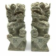 Solid Stone Carved Chinese Fengshui Foo Fu Dog Guardion Door Lions Statues 9