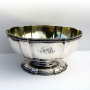 Lobed Footed Centerpiece Bowl Beaded Rim Gorham Sterling Silver Mono