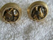 Antique Swank Tiger Eye Multi Stone Gold Tone Cufflinks With Matching Tie Tack
