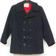 Sears Growing Girl Vintage Peacoat 12 Navy Blue Anchor Buttons Lined Jacket