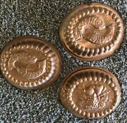 3 Large 12andrdquox14andrdquox3.5andrdquo Antique Heavy Copper Molds W Hanging Hooks Italy
