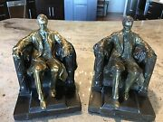 Beautiful Pair Vintage Bronze/brass Lincoln Memorial Bookends 7 X 5 X Inches