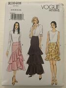 Vogue R10408 Sewing Pattern Plus Fitted Lined Wrap Skirts Size 6 - 14