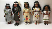 5 Vintage Native American Dolls W/papoose Beads Leather Handmade Clothes Free Sp
