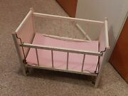 Vintage White Wooden Doll Antique Crib 19.5 X 11 Stands 14.5 Tall