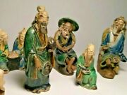 Vintage Lot Of 5 Chinese Mudmen Figurines / Statues