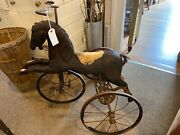 Antique 1800and039s Childand039s Horse Tricycle Walnut Hand Carved Wood And Wrought Iron 36andrdquo