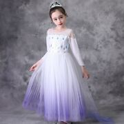 New 2020 Elsa Snow Queen Costume Cosplay Dress Outfit Party Girls With Crown