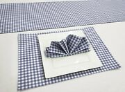 Navy Blue And White Checked Gingham Placemat Table Runner Cloth Napkins Set