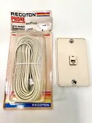 Recoton Vintage 1985 50ft. Phone Modular Extension Cord And Phone Jack Faceplate
