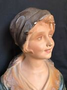 Antique French Plaster Bust Young Girl Pro Priete Cecile Frere 1900