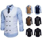 Trendy Menand039s Design Retro Solid Double Breasted V-neck Vests Causal Waistcoats