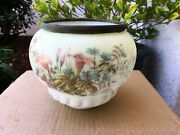 Antique Victorian Hand Painted Flowers Glass Ball Globe Oil Lamp Shade 7 1/2 Di