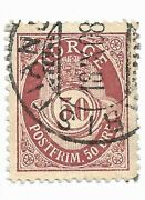 Norway Norge Postage Stamp Scott 30 Used 50 Ore Maroon Post Horn Cdd7b
