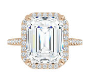 2.25 Ct Moissanite Emerald Forever One Halo Pave Engagement Wedding Ring