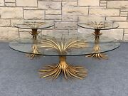 Set Of 3 Mid Century Hollywood Regency Wheat Gilded And Glass Coffee And End Tables