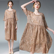 Womens Mid Long Dresses Plus Size Loose Embroidery Real Silver Chiffion Chic New