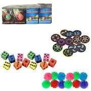 Lot Of Colored Foam Dice, Spike Balls, Laser Spin Tops And Rainbow Coils