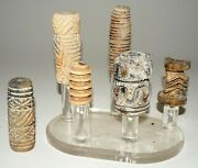 6pc Prehistoric Thai Iron Age Ban Chiang Ceramicandnbsprollers On Stand Mil 209