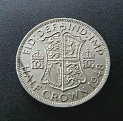 1948 Great Britain About Uncirculated Half Crown Coin - George Vi - 591