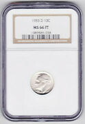 1955-d Roosevelt Dime Graded Ms-66 Full Torch By N.g.c Coin Grading Co. Free Sandh