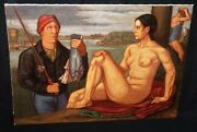 German Ca Expressionist Oil Painting Fisherman And Bather By Norbert Schlaus